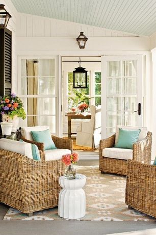 Traditional Porch with French doors, Shades of light 3 light federal hanging lantern, Screened porch
