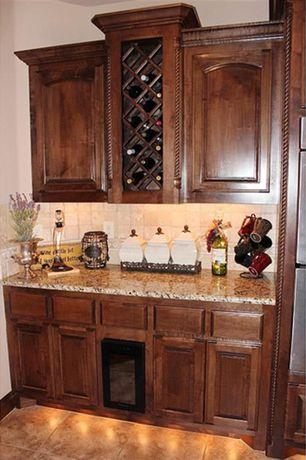 Craftsman Bar with stone tile floors, Standard height, sandstone tile floors, Built-in bookshelf