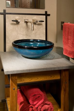 Craftsman Full Bathroom with Novatto Marmo Glass Vessel Bathroom Sink, MS International Porto Beige Limestone