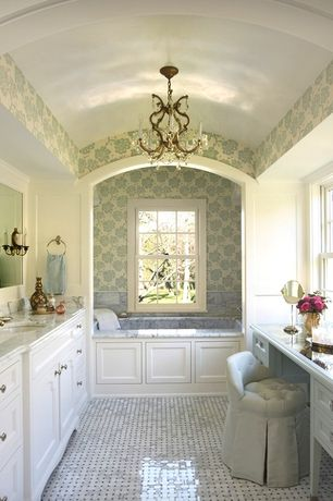 Traditional Master Bathroom with Complex marble counters, Shades of light elegance crystal swag chandelier - 6 lt, Chandelier