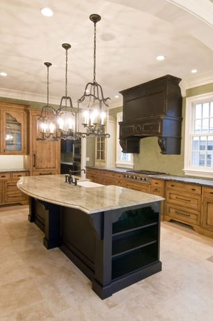 Traditional Kitchen with Limestone counters, double-hung window, Glass panel, L-shaped, Farmhouse sink, Crown molding