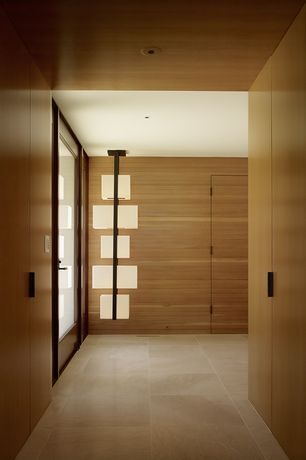 Contemporary Entryway with travertine tile floors, Custom Light Fixture, French doors