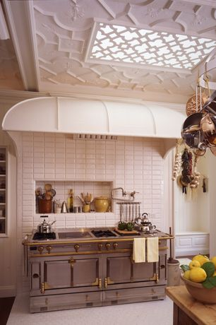 Eclectic Kitchen with Hexagon tile floor, Decorative ceiling, Jeffrey court Pearl White beveled tile, Pot filling faucet