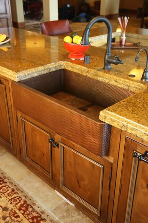 Traditional Kitchen with Ogee edge countertop, Glazed cabinet finish, Oil rubbed bronze pull down faucet, Granite countertop