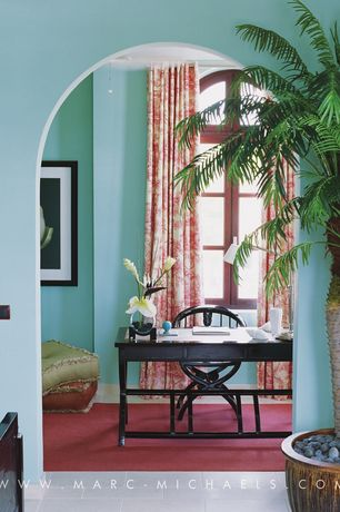 Tropical Home Office with Arched window, Carpet