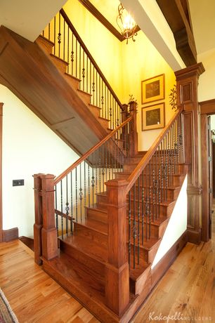 Craftsman Staircase with Paint, Portfolio linkhorn 15-in w iron stone pendant light, Cathedral ceiling, Hardwood floors