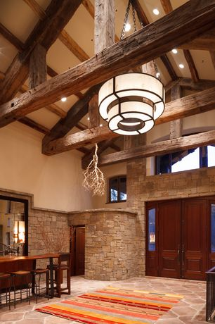 Rustic Entryway with Exposed beam, flush light, High ceiling