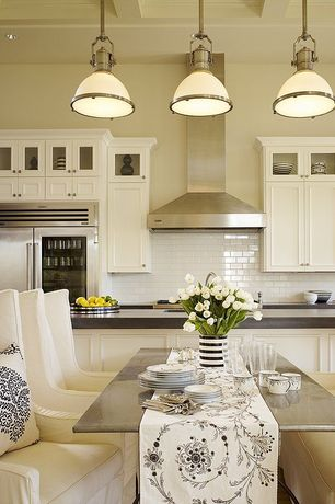 Traditional Kitchen with Wall Hood, Box ceiling, Flat panel cabinets, electric cooktop, Glass panel, Flush, full backsplash