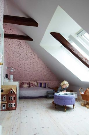 Contemporary Kids Bedroom with Exposed beam, Skylight, Hardwood floors, interior wallpaper