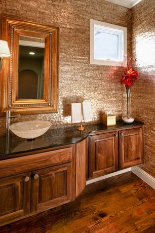 Traditional Powder Room with Vessel sink, Flush, Hardwood floors, Raised panel, Vigo glass vessel sink, Crown molding