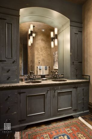 Traditional Full Bathroom with Pendant light, can lights, Standard height, Hardwood floors, three quarter bath, Double sink