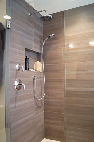 Modern Master Bathroom with Frameless glass shower door, Rain shower, Master bathroom, Hand shower, Wall sconce, High ceiling