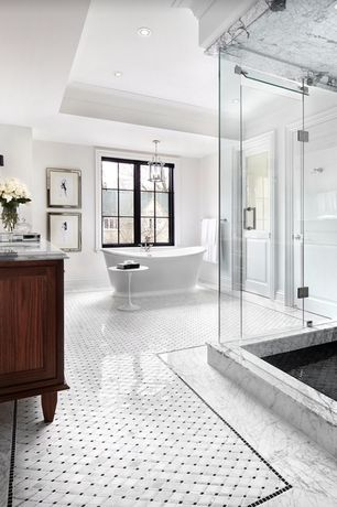 Master Bathroom Double Sink Complex Marble Tile Floors