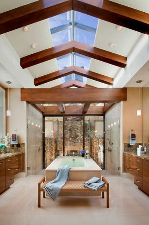 Modern Master Bathroom with Exposed beam, Handheld showerhead, Skylight, Wall Tiles, Standard height, European Cabinets