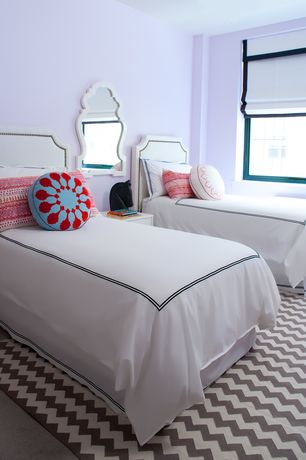 Contemporary Kids Bedroom with White framed mirror, Roti round decorative pillow, Paint 1