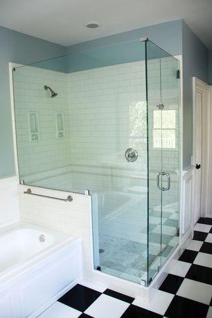 Cottage Full Bathroom with Paint 1, 12x12 black porcelain tile, White subway tile, Frameless glass shower door