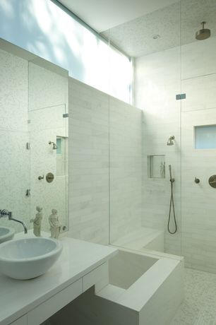 Contemporary Master Bathroom with Corian counters, White Carrara Marble Mosaic Polished Tiles (Box of 10 Sheets), Rain shower