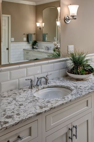 Traditional Master Bathroom with Crown molding, Standard height, partial backsplash, Powder room, Wall Tiles, Wall sconce