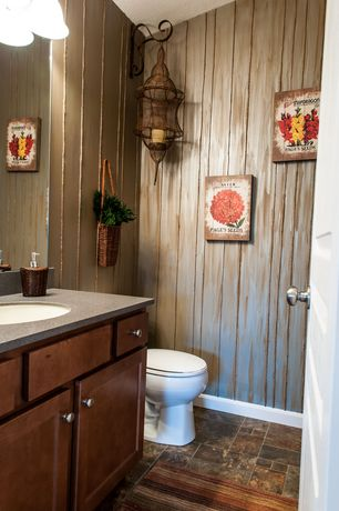 "Rustic Powder Room with High ceiling, Pegasus 25"" Granite Vanity Top with Sink, European Cabinets, Powder room, Wall sconce"