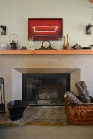 Eclectic Living Room with Concrete floors, Cement fireplace, Fireplace, High ceiling