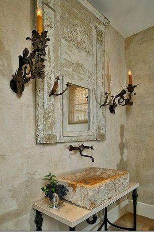 Mediterranean Powder Room with ntique Leviton Union Made Ornate Brass Wall Sconce Set Victorian Art Nouveau, Powder room