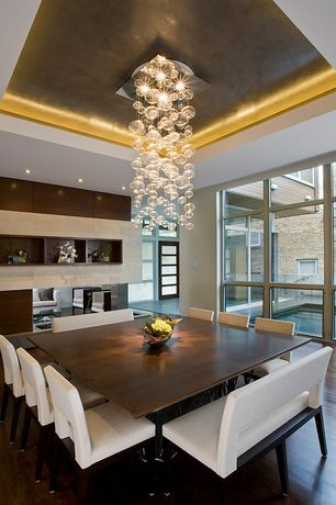 Contemporary Dining Room with Pier 1 Bal Harbor Dining Chair Ivory, Premere Luminare Bubble Chandelier, Hardwood floors