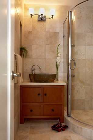 Contemporary Full Bathroom with European Cabinets, Limestone counters, Inset cabinets, Vessel sink, specialty door