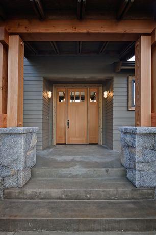 Craftsman Front Door with Glass panel door, Trellis, exterior stone floors