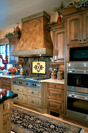 Country Kitchen with Standard height, electric cooktop, Wall Hood, Simple granite counters, Tile Mural Backsplash, Casement