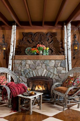 Eclectic Porch with outdoor pizza oven