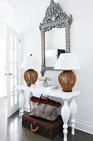 Contemporary Entryway with Paint 1, Standard height, French doors, Hardwood floors, Venetian Gems Temple Venetian Mirror