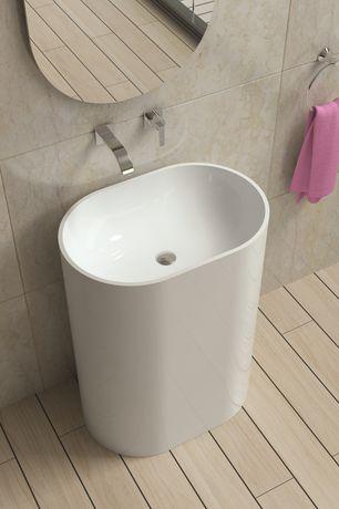 Contemporary Master Bathroom with Pedestal sink, Bamboo floors, MS International Jania Cream Limestone, Powder room
