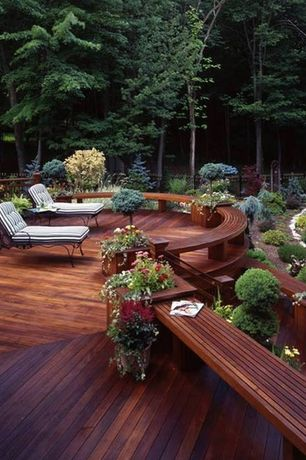 Contemporary Deck with Fence, Cedar decking, Outdoor lounge area
