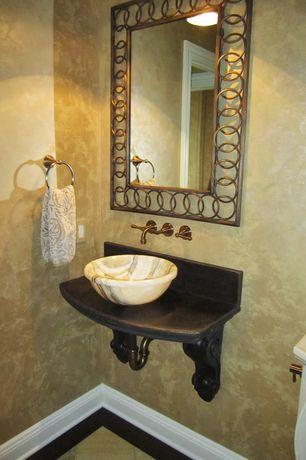 Traditional Powder Room with Powder room, Polaris sinks p058w white granite vessel sink, Standard height, flush light