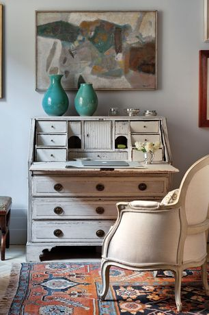 Eclectic Home Office with Standard height, Hardwood floors