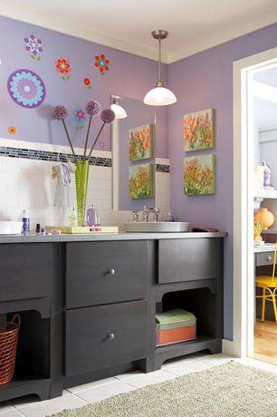 Contemporary Kids Bathroom with limestone tile floors, Subway Tile, Pendant light, Double sink, Pental Quartz Altea