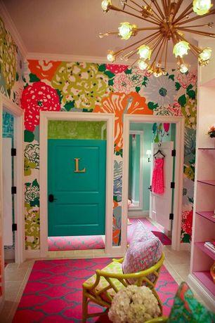 Eclectic Kids Bedroom with Standard height, Crown molding, Chandelier, no bedroom feature, Paint 1, Built-in bookshelf