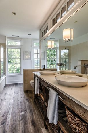 Eclectic Master Bathroom with Salerno Porcelain Tile - Rustic Handscraped Woodgrain Collection