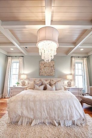 Cottage Master Bedroom with double-hung window, Crown molding, Paint, Hardwood floors, Chandelier, can lights, Box ceiling