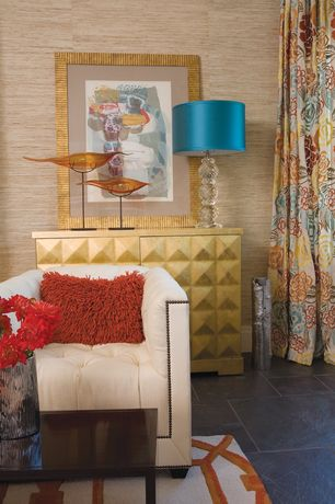 Contemporary Living Room with Concrete tile , interior wallpaper