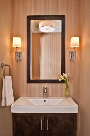 Contemporary Powder Room with Flush, Forecast Lighting - Flushmount Drum Shade Ceiling Light, Powder room, Wall sconce