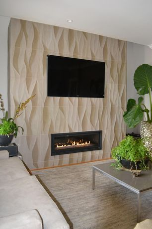 Contemporary Living Room with 3d wall panel, Paint, can lights, insert fireplace, Standard height, Carpet, Fireplace