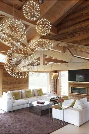 Contemporary Living Room with Chandelier, Area rug, High ceiling, Built-in bookshelf, Bianco Modern Side Table, Exposed beam
