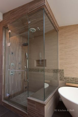 Contemporary Master Bathroom with Bathtub, Handheld showerhead, Master bathroom, can lights, Wall Tiles, Rain shower, Shower