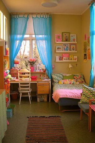 Modern Kids Bedroom with simple granite floors, flush light, Polished terrazzo flooring, Crown molding
