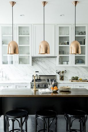Contemporary Kitchen with Complex Marble, slate floors, One-wall, Stanley 1 copper pendant - hammered finish, Breakfast bar