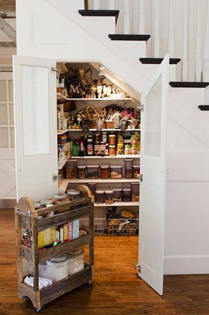 Traditional Pantry with French doors, OXO Good Grips 10 Piece POP Container Set, flush light, Built-in bookshelf