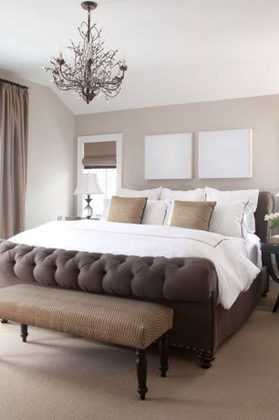 Traditional Master Bedroom with Carpet, Burton tufted linen sleigh bed, taupe, Chandelier