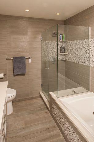 Contemporary Full Bathroom with Pental Crystal White Quartz, Daltile Fabrique Grass Linen Porcelain Field Tile, Flush