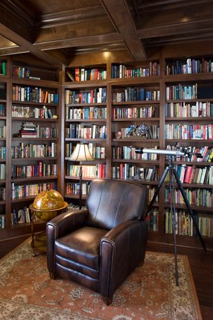 Traditional Library with Howard miller oxford bookcase - saratoga cherry, Austin 16-inch Antique Illuminated Globe, Stain